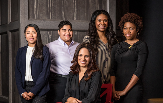 PowHERful Foundation, Soledad O'Brien, Co-Founder and Chairman, PowHERful Foundation; Journalist/Producer; Pictured with Scholars (standing left to right): Vanesa Cruz; Ariana Quiñones; Tassion Minor; Rochelle Ballantyne.