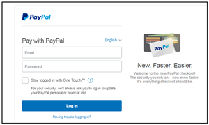 Screen shot of PayPal login page