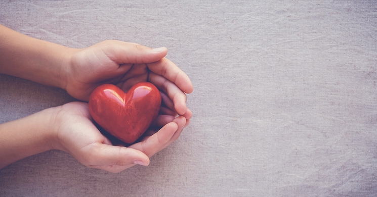 an image of hands holding artwork in the shape of a heart brings to mind the efforts that nonprofits undertake to raise donations, including email marketing