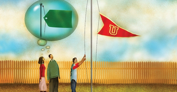 an illustration of a student raising a college flag with parents standing by and thinking of a price tag in a thought bubble above their heads