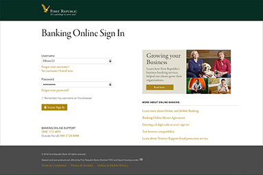 banking online sign in