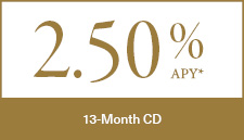 13 Month CD 2.5% APY