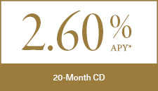 2.60% APY 20-Month CD