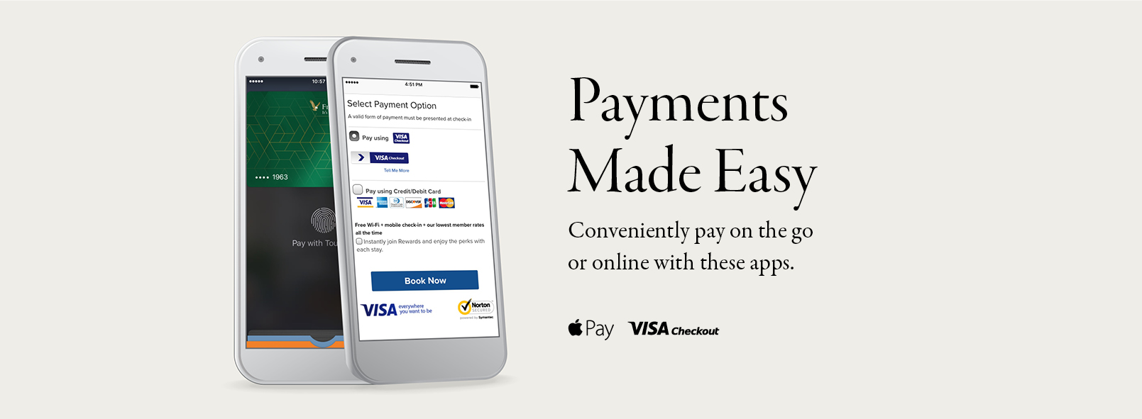 Digital payments made easy via Apple Pay and Visa Checkout
